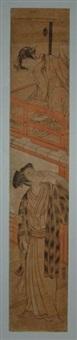 une dame jette une lettre à son amoureux déguisé en kamuso (pèlerin) by isoda koryusai