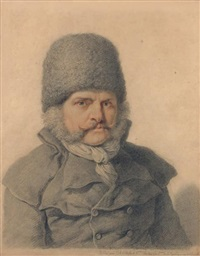portrait d'un homme portant un bonnet by pierre alexandre wille