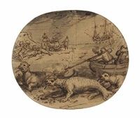 a walrus hunt: a design for the border of the novissima ac exactissima totius orbis terrarum by david vinckboons