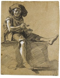 a young shepherd boy eating by francesco londonio