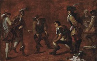 soldiers playing boules by jan miel