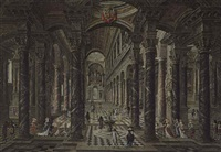 interior of a baroque church with elegant figures by wilhelm schubert van ehrenberg and hieronymus janssens