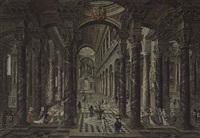 interior of a baroque church with elegant figures by wilhelm schubert van ehrenberg and hieronymus janssens