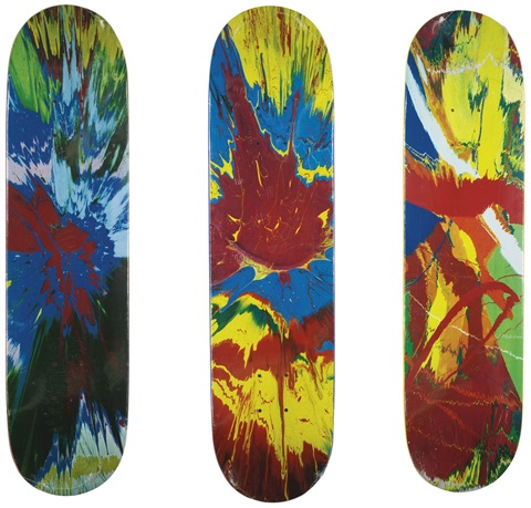 untitled (skateboard deck/spin) (3 works) by damien hirst