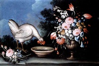 still life of a chicken drinking from a bowl and a bouquet of flowers in an urn, together in a landscape by giuseppe pesci