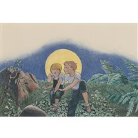 boy and girl with moon (+ 11 others, various sizes; 12 works for here comes the peddler!) by kyra markham