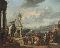 an italianate harbour with an elegant couple promenading near a statue of neptune, and workmen unloading by the docks by johannes lingelbach