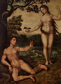 the fall - adam and eve in the garden of eden by jan gerritsz heemskerck