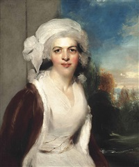 portrait of rebecca, lady simeon (d.1830), half-length, in a white dress and fur wrap, a wooded landscape beyond by thomas lawrence