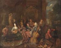 an elegant company making music by balthasar van den bossche