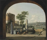 a townscape viewed through an archway, with women by a fountain by gerrit adriaensz berckheyde