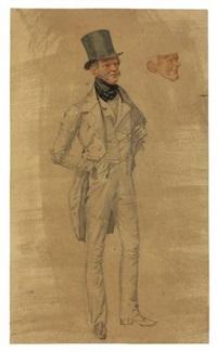 baron von arnim in ganzer figur / pauline decker in halbfigur by franz krüger