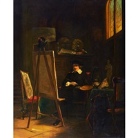 rembrandt in his studio by johann cornelius mertz