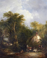 figures by a country cottage by richard h. hilder