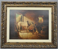 an equestrian genre scene with gent feeding a dog and chickens by brian coole