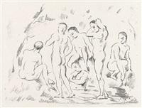 les baigneurs (petite planche) by paul cézanne