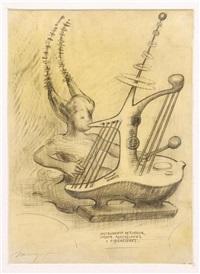 instrumento de cuerda..., el árbol de la mûsica, instrumento eletrónico para accidentes..., boceto general para el mural homenaje a la mûsica (4 works) by mario orozco rivera