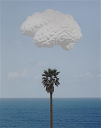 brain cloud (with seascape and palm tree) by john baldessari
