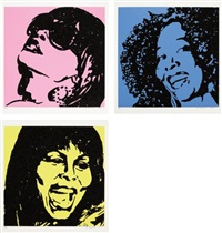 trois divas (a e i o u and sometimes y) (set of 3) by mickalene thomas
