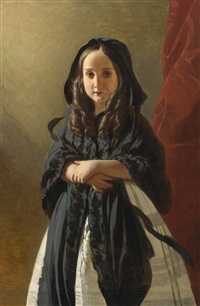 portrait of charlotte of belgium, daughter of king leopold i (collab. w/studio) by franz xaver winterhalter