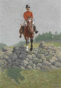 a hunting man (in full pursuit: h.l. herbert taking a wall) by frederic remington