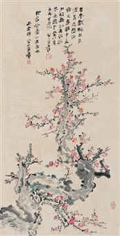 梅花 镜心 设色纸本 (painted in 1979 plum blossom) by zhang daqian