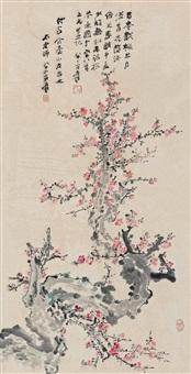 梅花 镜心 设色纸本 (painted in 1979 plum blossom) by zhang daqian