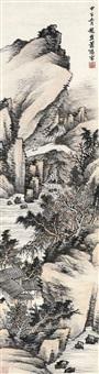 丘壑鸣泉 立轴 设色纸本 by xiao xun
