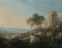 paysage classique avec un pâtre assis sur un rocher et le temple de vesta by pierre antoine patel