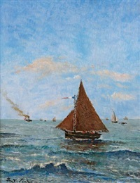 voilier sur la mer by alfred stevens