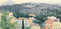view with cypress trees by leon bakst