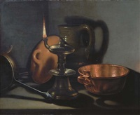 kitchenware in the glow of an oil lamp by cornelis jacobsz. delff