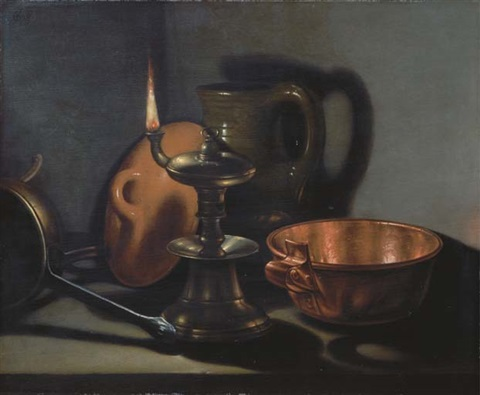 kitchenware in the glow of an oil lamp by cornelis jacobsz delff