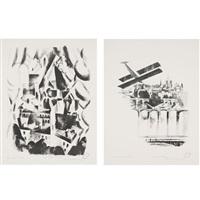 la fenetre sur la ville; les ponts et notre dame (2 works) by robert delaunay