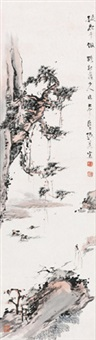松下老者 镜心 设色纸本 (elder under the pine tree) by zhang daqian