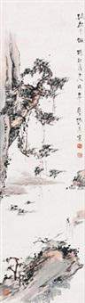 松下老者 镜心 设色纸本 (elder under the pine tree) by zhang daqian