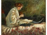 a lady sitting by pierre laprade