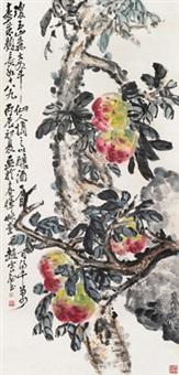 仙桃祝寿 立轴 设色纸本 by zhao yunhe