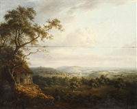 extensive rural landscape with distant town by patrick nasmyth
