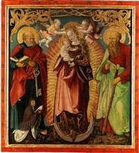 madonna mit kind auf der mondsichel sowie die heiligen petrus und paulus mit stifterfigur by hans (suess von) kulmbach
