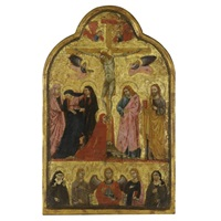 the crucifixion with the archangel michael and saints elizabeth of hungary, agnes, catherine of alexandria and clare (+ the imago pietatis with the donor figures of a franciscan monk and nun; double-sided) by giotto (ambrogio bondone)