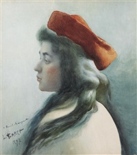 portrait of a young girl by leon bakst
