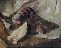 still life plaice and salmon by walter vaes