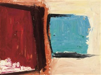 composition with blue and red squares by melville price