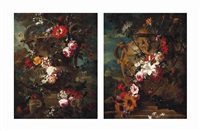 a wreath of roses, convolvulus, snowballs, carnations and other flowers... (+ a wreath of lilies, roses, sunflowers, irises and other flowers; pair) by gaspar pieter verbruggen the younger