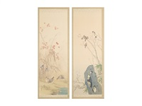 flowers and birds in spring and fall (a pair of scrolls) by juppo araki