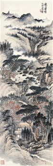 山水 立轴 设色纸本 by xiao xun