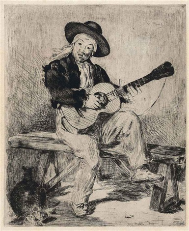 le chanteur espagnol le guitarero by édouard manet