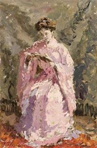 femme lisant en kimono rose by adrien jean le mayeur de merprés