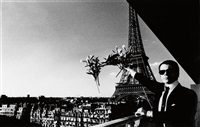 portrait of karl lagerfeld in paris by helmut newton